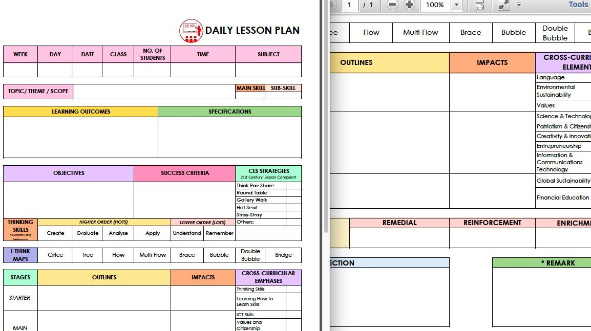 For Teachers Daily Lesson Plan Template For Secondary School English Teachers Helloadlina My